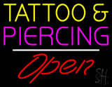 Tattoo and Piercing White Line Open LED Neon Sign