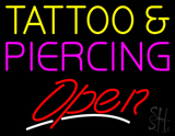 Tattoo and Piercing Slant Open LED Neon Sign