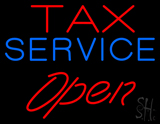 Red Tax Service Open LED Neon Sign