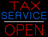 Red Tax Service White Line Block Open LED Neon Sign