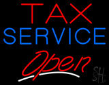 Red Tax Blue Service Open LED Neon Sign