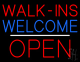 Red Walk Ins Welcome Open White Line LED Neon Sign