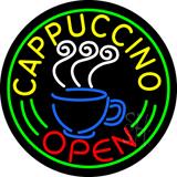 Round Cappuccino Open Neon Sign