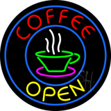 Round Red Coffee Open Yellow Neon Sign