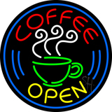 Round Coffee Open Neon Sign