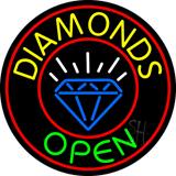 Diamonds Open Block with Logo Neon Sign