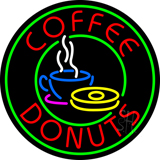 Round Coffee Donuts Neon Sign