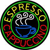 Round Espresso Cappuccino Neon Sign