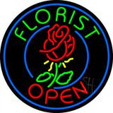 Round Florist Open Neon Sign