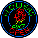 Round Flowers Open Neon Sign