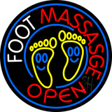 Round Foot Massage Open Logo Neon Sign