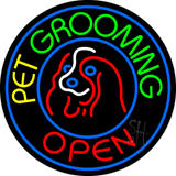 Pet Grooming Open Block Neon Sign