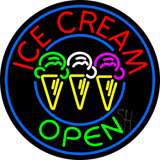 Round Ice Cream Open Neon Sign