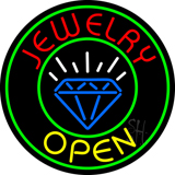 Jewelry Open Blue Logo Neon Sign