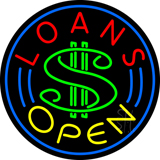 Round Red Loans Open Neon Sign