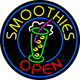 Round Yellow Smoothies Open Neon Sign