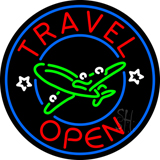 Red Travel Open Blue Circle Neon Sign