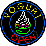 Round Yogurt Open Neon Sign