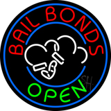 Round Bail Bonds Open Neon Sign