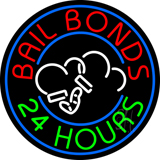 Round Bail Bonds 24 Hours Neon Sign