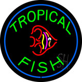 Green Tropical Fish Block Logo LED Neon Sign