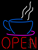 Open Coffee Cup Logo LED Neon Sign