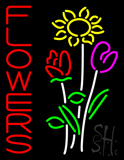 Vertical Flowers with Logo Neon Sign