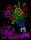 Pink Flowers with Logo Neon Sign