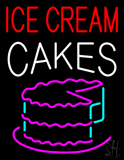 Red Ice Cream Cakes Logo Neon Sign