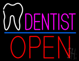 Pink Dentist White Tooth Blue Line Open LED Neon Sign