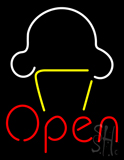 Ice Cream Open with Logo LED Neon Sign