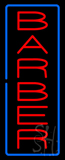 Vertical Red Barber with Blue Border Neon Sign