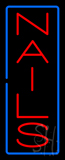 Vertical Red Nails with Blue Border Neon Sign