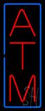 Vertical ATM Blue Border Neon Sign