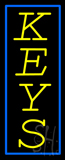 Vertical Yellow Keys Blue Border Neon Sign