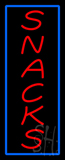 Vertical Red Snacks with Blue Border Neon Sign