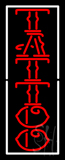 Vertical Red Tattoo White Border LED Neon Sign