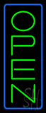 Open - Vertical Green Letters with Blue Border LED Neon Sign