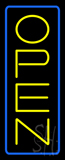Open - Vertical Yellow Letters with Blue Border LED Neon Sign