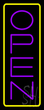 Open - Vertical Purple Letters with Yellow Border LED Neon Sign