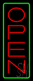 Open - Vertical Red Letters with Green Border LED Neon Sign