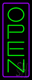 Open - Vertical Green Letters with Purple Border LED Neon Sign