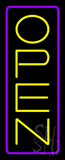 Open - Vertical Yellow Letters with Purple Border LED Neon Sign