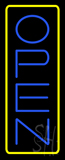 Open - Vertical Blue Letters with Yellow Border LED Neon Sign