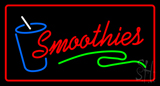 Red Smoothies with Glass Red Border LED Neon Sign