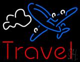 Red Travel Blue Aeroplane Neon Sign
