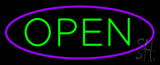Green Open With Purple Oval Border LED Neon Sign