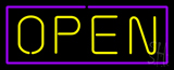 Open - Purple Border Yellow Letters LED Neon Sign
