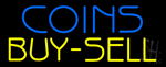 Blue Coins Buy Sell Neon Sign