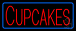 Red Cupcakes with Blue Border Neon Sign
